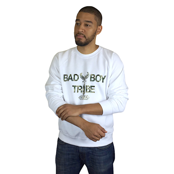A white sweatshirt with a camouflage Bad Boy Tribe print