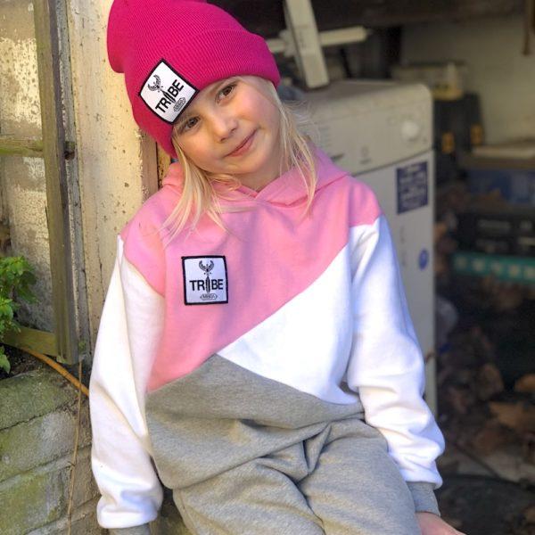 Kids Tracksuit Hoodie pink/grey