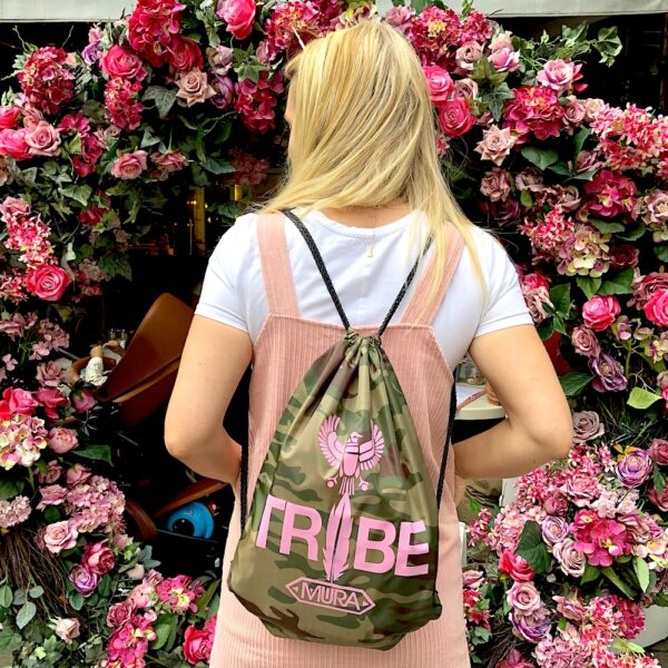 camouflage gym sack with a pink Tribe print