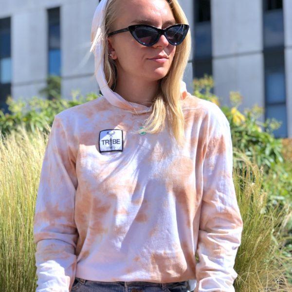 Tie Dye Hooded long sleeve t-shirt. orange patterns from tie dying. cotton hooded long sleeve
