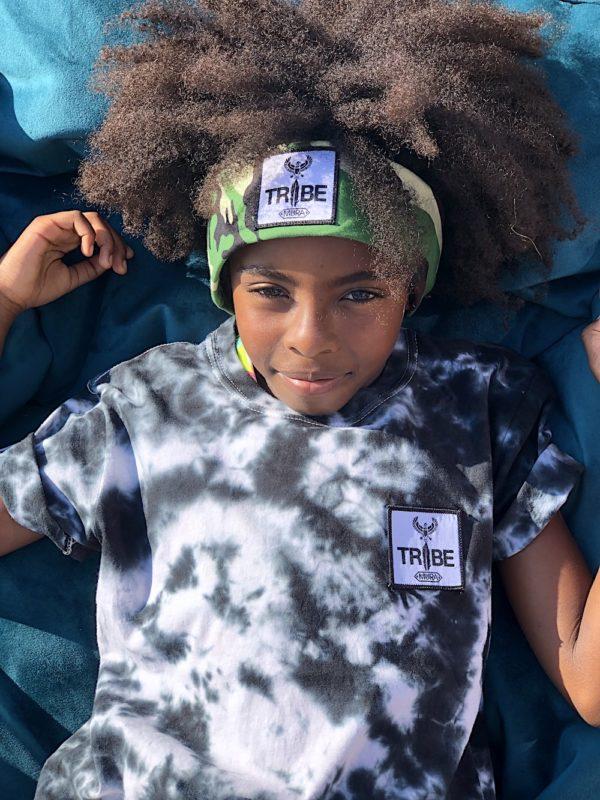 kids tie dye TRIBE logo patch t-shirt. Grey/ Black / White tie dye pattern