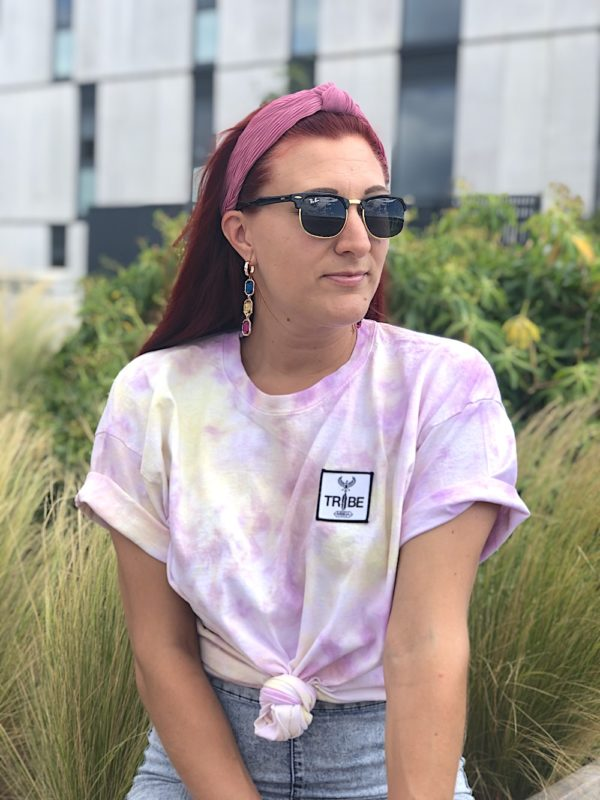 Tie Dye cotton t-shirt with a pastel purple and light yellow pattern. kids and adult sizes.