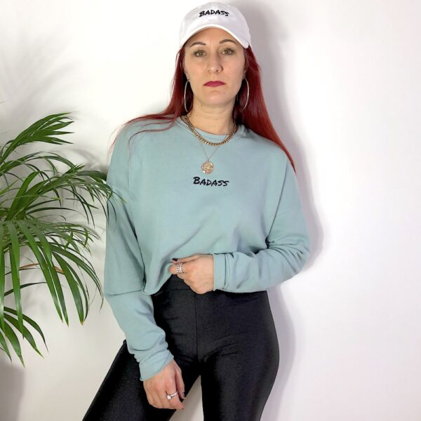 Badass Embroidered Cropped Sweatshirt in Mint color