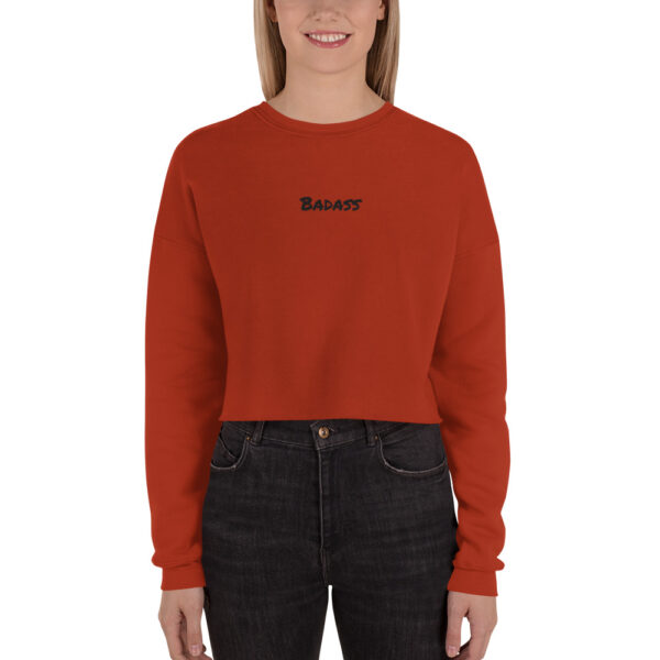 Badass Embroidery Cropped Sweatshirt Red Feminist Sweatshirt