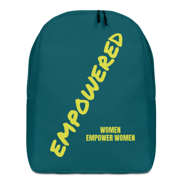 "Turquoise backpack with bright yellow ""empowered women empower women"" print"
