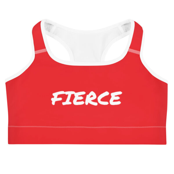 Red sports bra with white print saying Fierce
