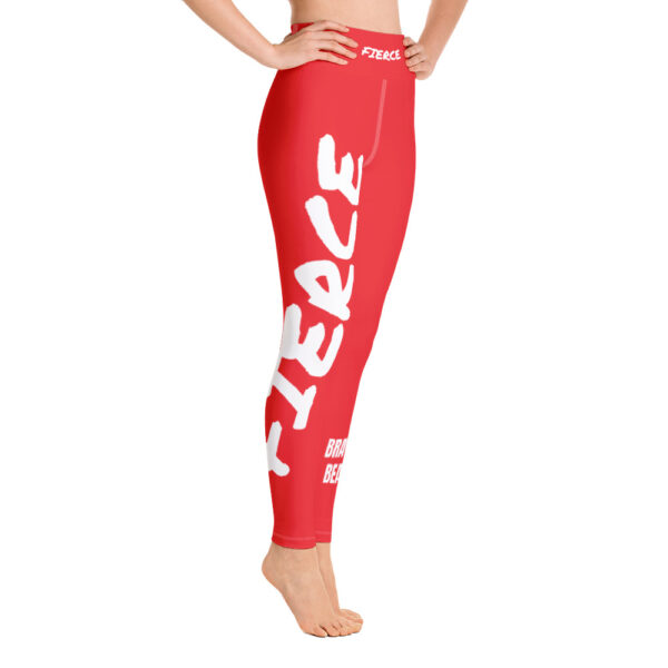 Red high waisted yoga leggings with a white print saying fierce