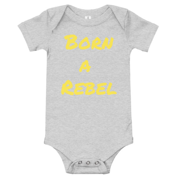 born a rebel baby onsie. grey cotton baby onsie with yellow print.
