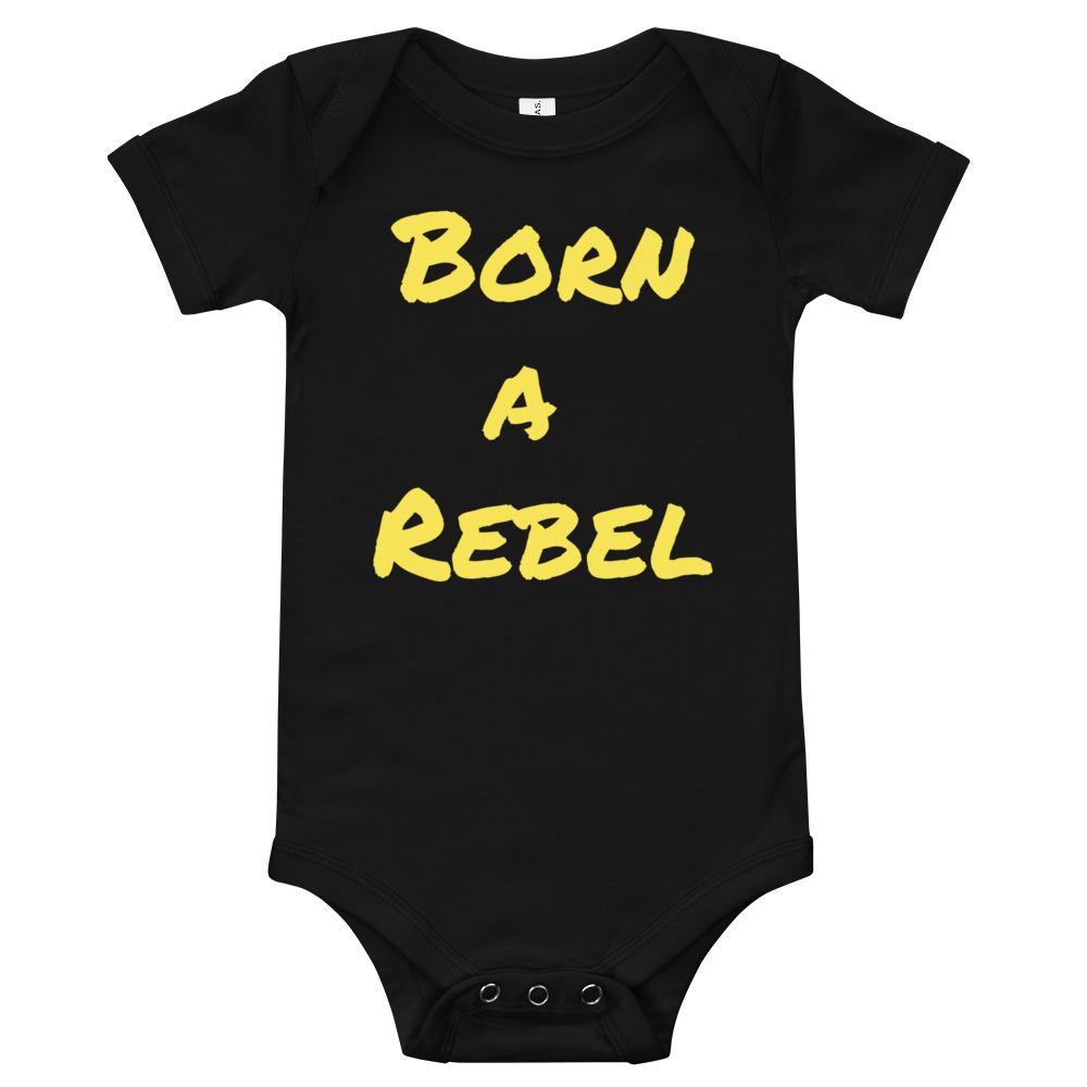 born a rebel baby onsie. black baby onsie with yellow print. feminist baby onsie.