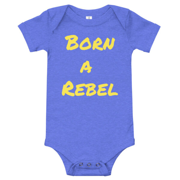 Born a rebel baby onsie. blue cotton baby onset with yellow born a rebel print.