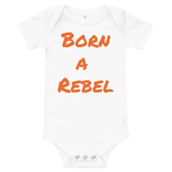 born a rebel print onsie. white onsie with orange print.