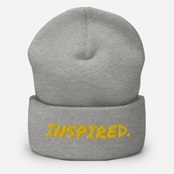 Inspired Beanie, grey beanie hat, inspirational beanie,