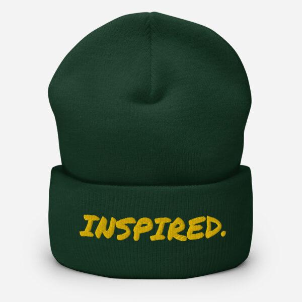 Inspired Beanie, forest green beanie hat, inspirational beanie, beanie for artists