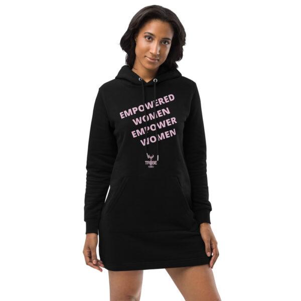 Empowered women empower women hoodie dress. black organic hoodie dress with light pink print. slogan print. female empowerment