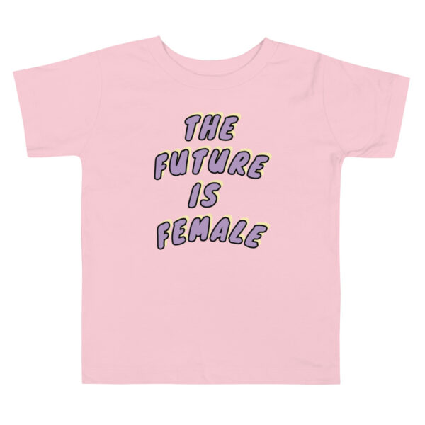 """Pink toddler t-shirt with purple """"the future is female"""" print. cotton t-shirt"""