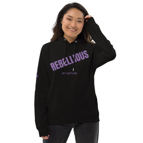 Rebellious by nature hoodie. black organic hoodie with purple print.