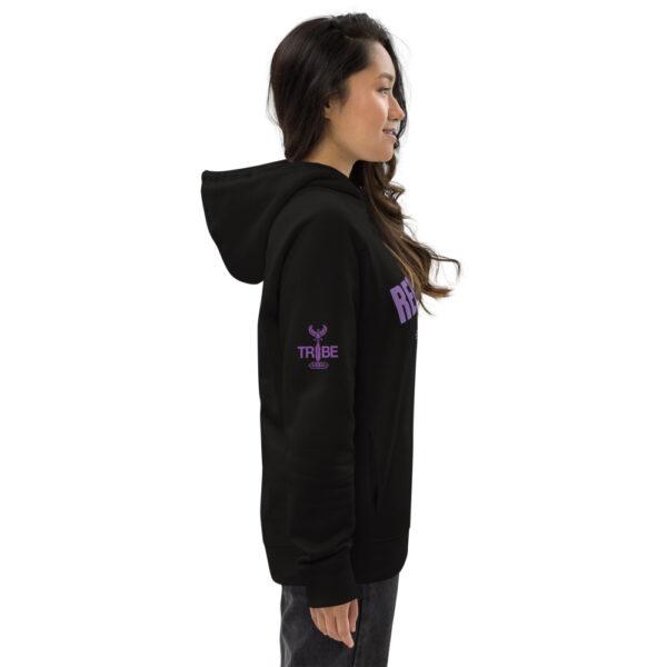 Black printed organic rebellious by nature hoodie. black hoodie with purplel print.