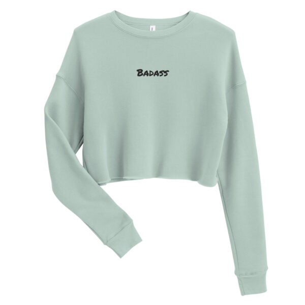 Badass embroidery crop top sweatshirt. Mint coloured cropped sweater with embroidery saying Badass