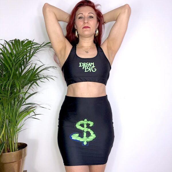 A black pencil skirt with a neon green dollar sign print on the front