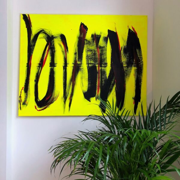A bright yellow abstract painting with black stripes