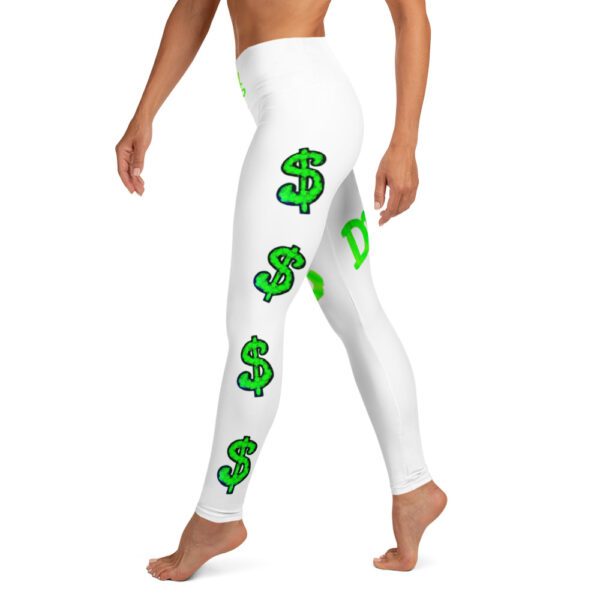 White high waisted yoga leggings with neon green dollar signs printed on it